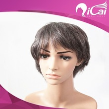 Cheap 100% indian remy virgin human hair gray hair full lace wigs