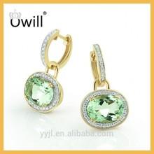 Fashion Jewelry Latest Design 925 Silver Oval Cut Green Diamond Yellow Gold Plated Zircon Handmade Crystal Earrings