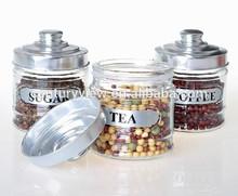 ss cap glass body tea coffee sugar canister set