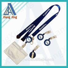 Dark blue polyester lanyard+silkscreen logo+safety clip+keyring+lobster claw+yoyo+id card holder
