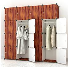 PP plastic wardrobes storage 16 cubes wooden color wardrobe for sale (FH-AL0052-16)