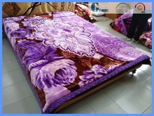 hotel purple woven printed raschel blanket with king size