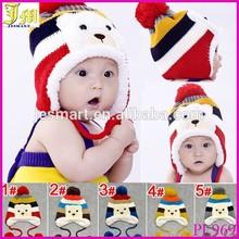 New Cute Fashion Warm Cap Winter Animal Hats For Baby Earflaps Velvet Thickening Crochet Knitted Boy Girl Beanie Children Hat
