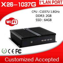 industrial embedded pc desktop computer C1037U thin client pc share X26-1037g 2GB RAM 64GB SSD with 1*VGA,4*COM etc.