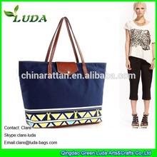 LUDA navy blue Canvas spain style ethnic fabric Straw Beach Bag travel bag