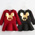 2014 otoño y elinvierno ropa la versión coreana de la nueva ropa para niños hembra bebé niño de cabeza de ratón de manga vestido de niño qz-2