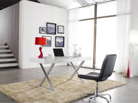white glass computer desk table with mental legs S001