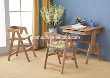 2015 best selling oak adjustable wooden children desk and chair