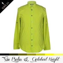 elegant and superior acrylic beautiful yellow color men's low collar shirt