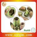 venda quente de madeira decorativa parafusos da flange do hex metal inserir porca de bloqueio com baixo preço