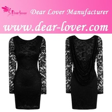 Latest Pakistani Black Lace Drape Back Bodycon Casual Dress