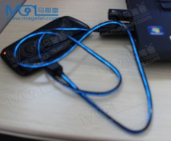 micro usb2.0 cable with flow led light for mobile phone