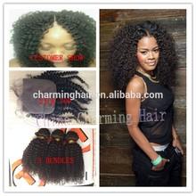 1 Pc Free Part Silk Base Top Closure + 3Pcs Virgin Mongolian Hair bundles ,4Pcs/lot, Afro Kinky Curly Remy Human Hair Weave Weft