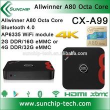 New Allwinner A80 Octa core, 4K, bluetooth 4.0, Sata port, A80 android tv box