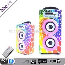 Professional design wooden portable Bluetooth portable usb sd card mini speaker fm radio