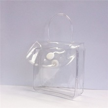 hot sale button closure promotional clear pvc gift pouch