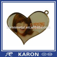 heart shape printed photo pendant with epoxy coating