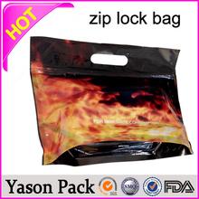 YASON color printed mylar ziplock facial mask bags with hang hole tear notch custom design ziplock potpourri blend spice bag cig