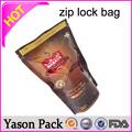 Yason chá em alumínio malogrado de prata sachês/preto de plástico de embalagem de chá zipper/café saco com zíper sacos de vedação zipper bolsa de documento
