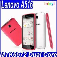 Original Lenovo A516 white pink women phone MTK6572 Dual Core 4.5 inch Mobile Phone Android 4.2 GPS Dual SIM Russian Language