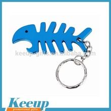 Fish Skeleton Shape Aluminum Bottle Opener Keyring for Promotional Items