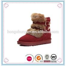 2015 warm rabbit fur ladies genuine leather winter boots