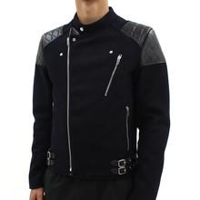 Fashion custom fit black zipper motorbike jacket