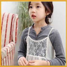 Hot!!! Cotton round neck bottoming shirt basic models of good quality baby girls cotton slim T-shirt of china supplier ZZJ -48