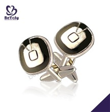 Black edge rounded shiny square classic cufflink for woman