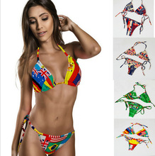 Wholesale UK Brazil Flag Print Swimwear Two Piece Fashion Bikini Model