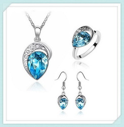 Special unique colored star design crystal jewelry set SET-00077
