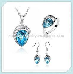 aqua heart glass jewelry set Special unique colored star design crystal jewelry set SET-00077