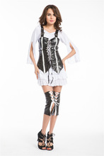 2015 Wholesale Cheapest Womens Black Leather Pirate Bucaneer Ladies Fancy Dress Costume