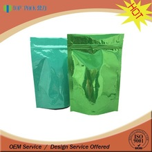 Standing colorful printing plastic packaging bag with ziplock and tear notch