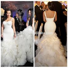 White Lace Mermaid long Trail Floor Length Custom Made Red Carpet Celebration Dresses KD022 kim kardashian wedding dress