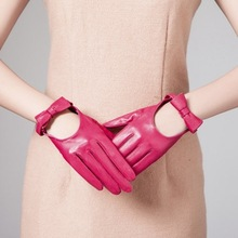 Fashion Bow Women Sheep Leather Dress Gloves With U-shaped hole
