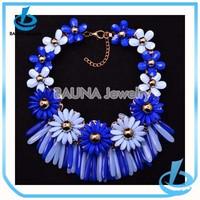 New designs statement blue resin hawaiian foam flowers necklace