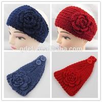 Fashion women crochet ear warmer headband knitted headband with button closure pattern crochet headband flower pattern for kids