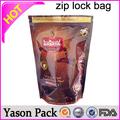 yason التسلق الذهبي ثلاثة أكياس الجانب ختم ziplock كبار سستة التصفيح أكياس ziplock الشاي الطباعة التغليف المرنة