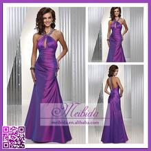 Unique Competitive Price Floor-length Sleeveless Mermaid Halter Ruffled Taffeta Wholesale Evening Dress