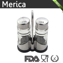 stainless steel coated glass cruet with metal rack
