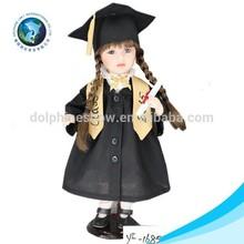 Cute 18 inch graduation school uniform american russian girl doll soft vinyl porcelain doll