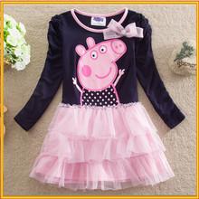 Hot!!! Fashion Kids Clothes Long Sleeve Baby Peppa Pig Dress Wholesale ZZJ-PE-3