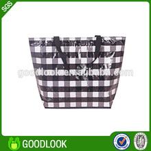 OPP laminated woven material fashion bags ladies handbags