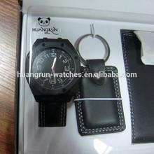 Cool men leather key chain watch wallet gift set