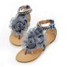 Tamanho grande 34-43 bohemia 2015 feminina sandálias flor frisado liso flip- flop apartamentos sapatosdesenhoras frete grátis