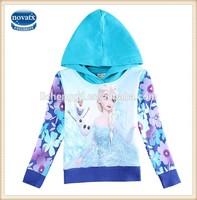 2-6y Turquoise (F5701) Nova factory kids frozen elsa hoodies wholesale baby winter coats wear