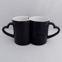 12OZ Black Matte Finish color changing magic Mug for lovers