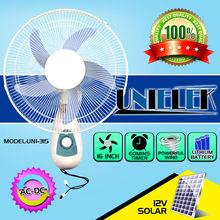 "12v rechargeable electric fan nepal/indian low price ac dc 16"" solar wall fan"