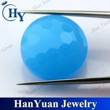 Hot sale good quaity blue glass round stones